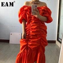 EAM – robe plissée Orange pour femmes, grande taille, col bateau, demi-manches, coupe ample, mode printemps été 2021, 1T2011