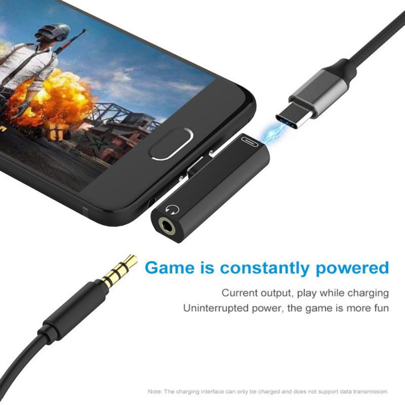 2 In 1 Type C To 3.5mm Jack Earphone Charge Converter Type-C Audio Adapter For Samsung Xiaomi Huawei