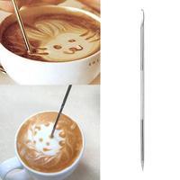 1PC Edelstahl Latte Art Pen Barista Cappuccino Latte Espresso Kaffee Dekorieren Stift DIY Küche Kaffee Werkzeug-in Kaffee-Schablonen aus Heim und Garten bei