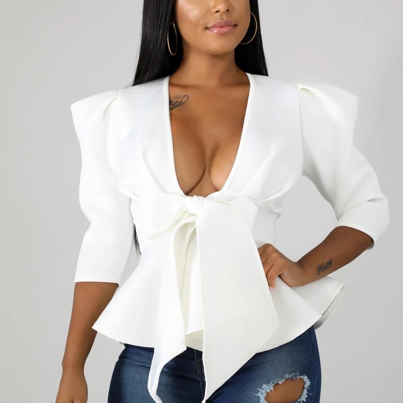 Women Scuba Bowtie Peplum Blouse Shirts Half Sleeve Sexy V Neck Tops Elegant Office Ladies Workwear Streetwear 16