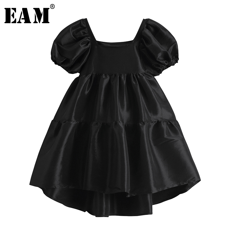 [EAM] Women Black Brief Elegant Irregular Dress New Square Collar Short Puff Sleeve Loose Fit Fashion Spring Summer 2020 1W832