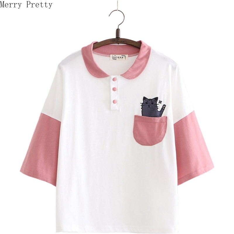 Women Cartoon Cat Embroidery Pocket Funny T Shirt Short Sleeve Turndown Collar Cotton T Shirts 2020 Spring Harajuku Tops Tees