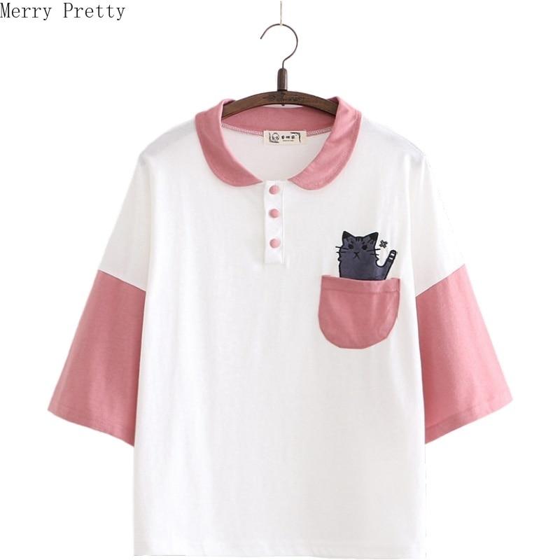 Women Cartoon Cat Embroidery Pocket Funny T Shirt Short Sleeve Turndown Collar Cotton T Shirts 2020 Spring Harajuku Tops Tees