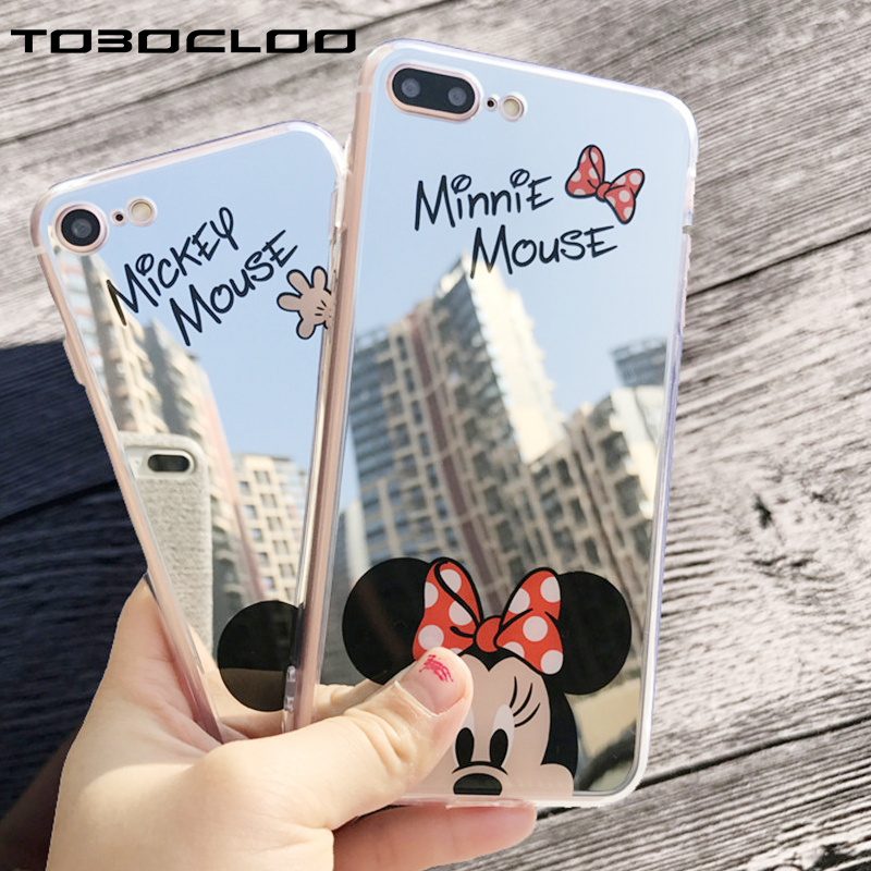 For IPhone 7 8 Plus 5 5s SE Case Cute Cartoon Mirror Silicone For IPhone X 6 6s Plus