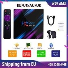 H96 MAX Boîte TV Android10 4K Boîte Smart TV 4k 4 Go 64 Go 32 Go Android9.0 Lecteur multimédia Assistant vocal Google Bluetooth WIFI pour Netflix Youtube H96MAX décodeur numérique