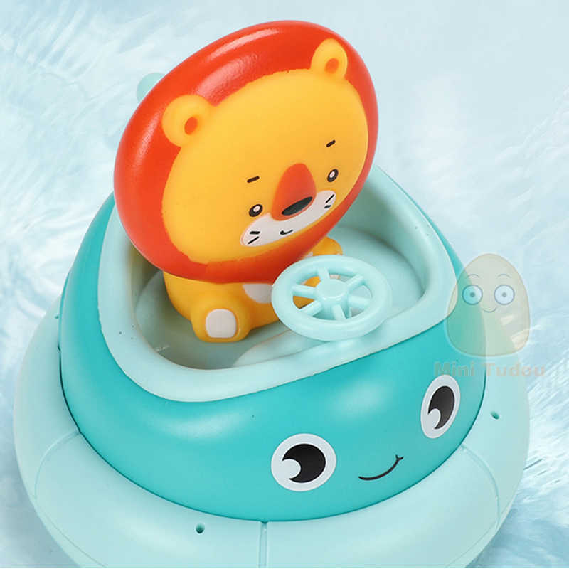 Kids Bathroom Electric Rotating Cup Toy Cartoon Lion Baby Water Spray Bath Puzzle Plastic Play Water Toys For Children