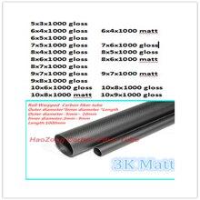 3k трубки из углеродного волокна od 5 мм, 6 мм, 7 мм, 8 мм, 9 мм, 10 мм X 1000 мм светильник обернутые в рулон трубы/вал, легкий вес, высокая прочность