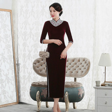 2019 New Arrival Quinceanera Long, Retro And Improved Velvet Cheongsam With Beads, Walking Show Dress, Mothers Chinese Style