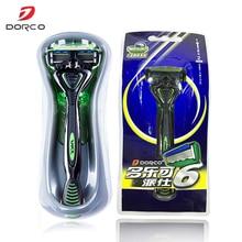 Корейские Оригинальные подлинные мужские безопасные бритвы Dorco Pace 6, 6 слойные лезвия для бритья бороды, Безопасные лезвия из нержавеющей стали