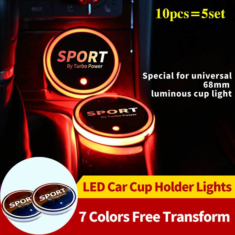 10PCS/SET 68MM <font><b>LED</b></font> <font><b>Car</b></font> <font><b>Logo</b></font> Colorful Water Cup Mat Lights Seat Trim Accessories Auto <font><b>Logo</b></font> Decoration Lamp <font><b>USB</b></font> Cup Mat Fashion image