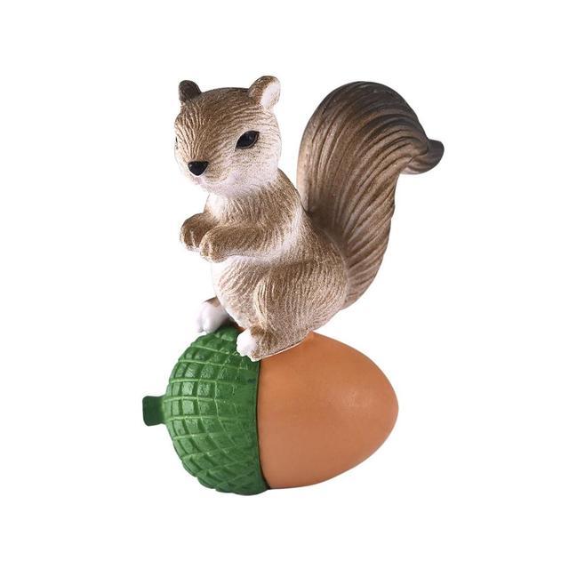 4pcs/Set Lovely Squirrel Family Model Cartoon Animal Figurine Dollhouse Cake Home Decor Miniature Fairy Garden Decoration 6