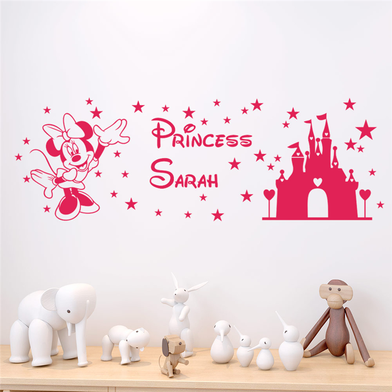 disney castle minnie wall stickers for kids rooms baby bedroom home decor cartoon wall decals vinyl wallpaper diy mural art in Wall Stickers from Home Garden