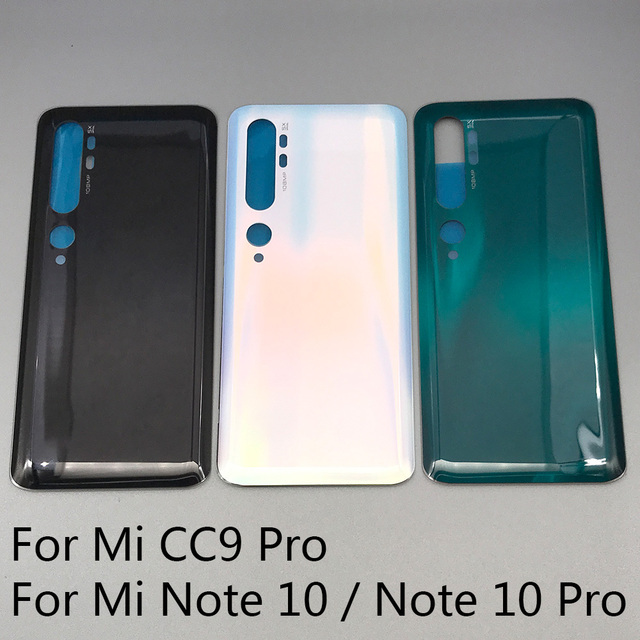 10 Pcs/Lot Back Glass Battery Cover Rear Door Housing Case For Xiaomi Mi Note 10 / Note 10 / Mi CC9 Pro With Glue Adhesive
