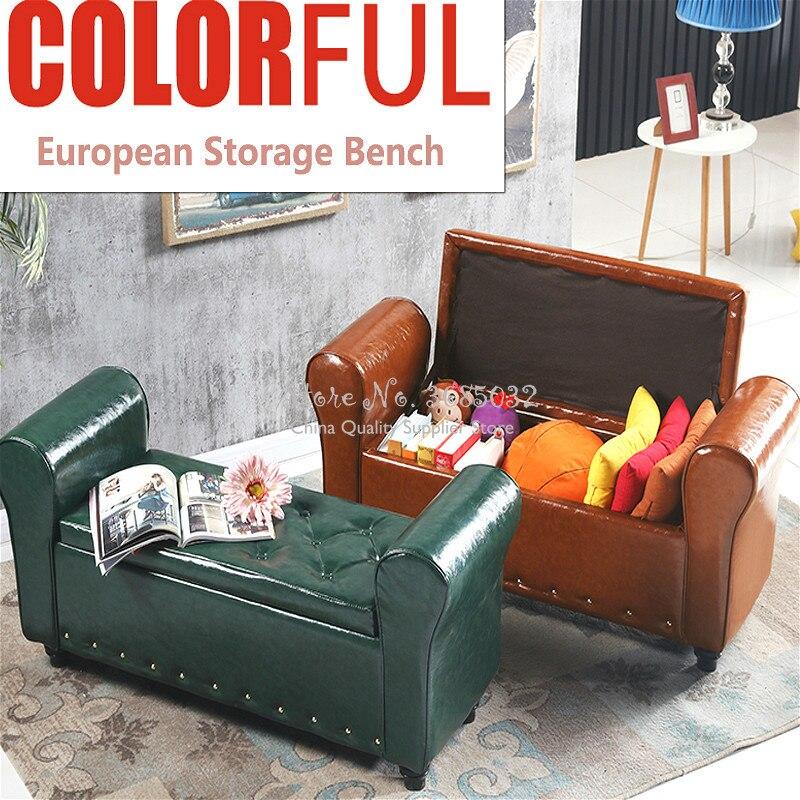 European Leather Storage Bench Change Shoe Stool Clothing Book Sundries Storage Sofa Stool Multifunctional Home/shop Furniture