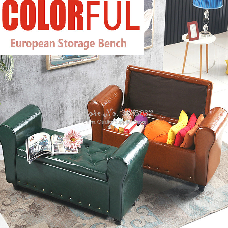 European Leather Storage Bench Change Shoe Stool Clothing Book Sundries Storage Sofa Stool Multifunctional Home/shop Furniture