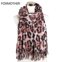 FOXMOTHER Winter Leopard Scarf Women Cashmere Shawl Animal Print Long Wrap Scarves Accesorios Mujer Muffler Female 2019