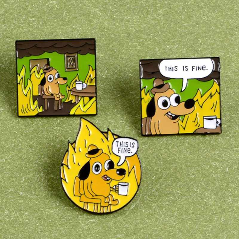 이것은 괜찮아요 에나멜 핀 맞춤 만화 개 브로치 옷깃 핀 셔츠 가방 재미 있은 동물 배지 보석 선물 팬 친구