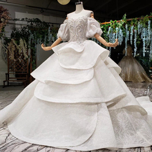 HTL980 vestido de noiva 2020 prenses düğün elbise puf kollu boncuk kristal çin gelin elbiseleri türkiye robe de mariee
