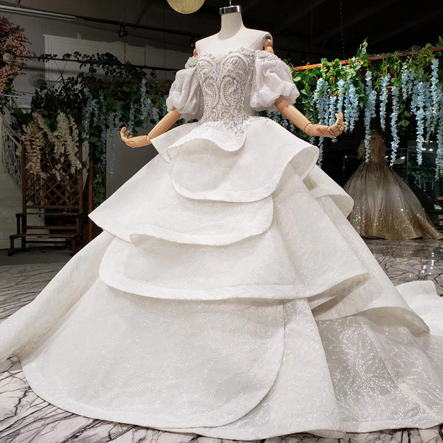 HTL980 vestido de noiva 2020 princess wedding dresses puff sleeve beads crystal china bridal dresses in turkey robe de mariee