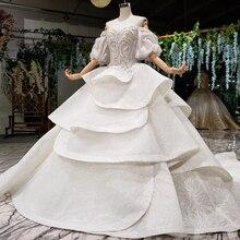 HTL980 vestido de noiva 2020 เจ้าหญิงงานแต่งงานชุดพัฟแขนลูกปัดคริสตัลจีนชุดเจ้าสาวในตุรกี Robe de mariee