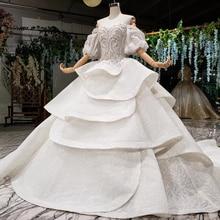 HTL980 vestido デ noiva 2020 王女のウェディングドレスパフスリーブビーズクリスタル中国ブライダルドレスローブデのみ