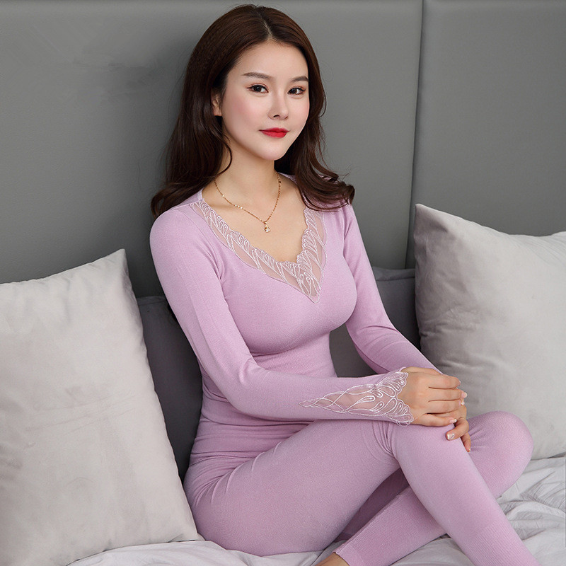 Sexy V-neck Slim Underwear For Women Velvet Thick Warm Womens Blouses Fashion Body Female Basic Tops Ladies Long Thermal Pajamas