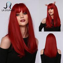 La Sylphide-Peluca de Cosplay de Halloween para mujer cabello sintético rojo largo y recto, con flequillo, resistente al calor, color blanco y negro