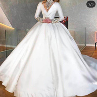 ball gown wedding dresses 2020 long sleeve crystal long sleeve satin puffy bridal dresses vestidos de noiva