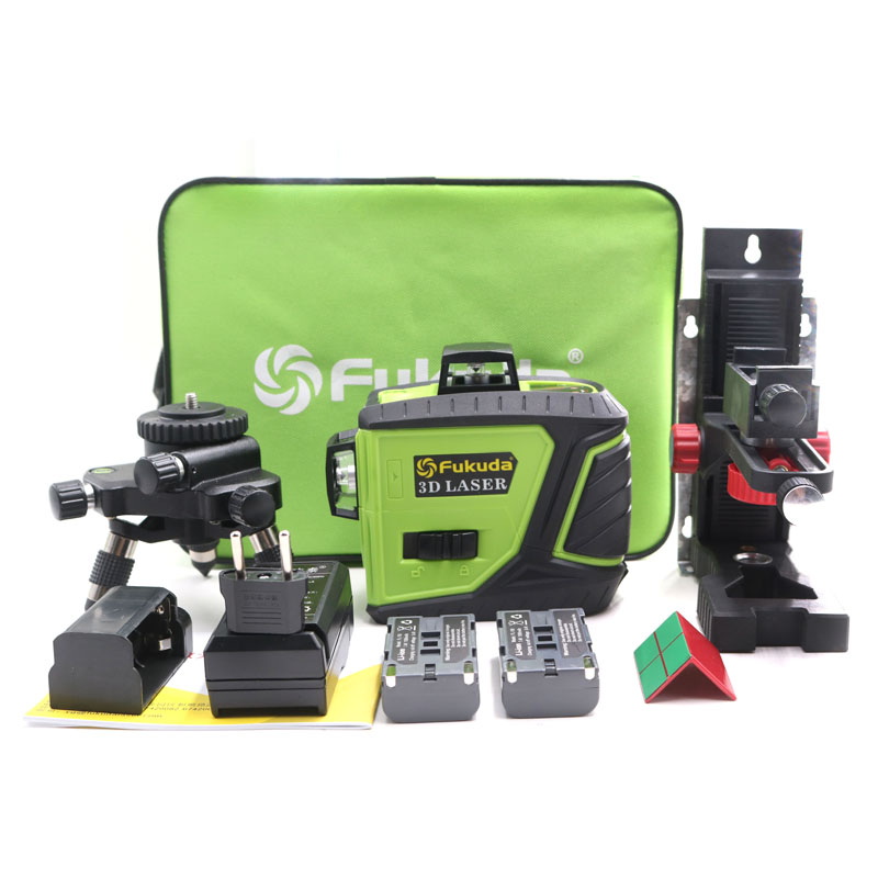 2pcs Lion-Battery Fukuda <font><b>12</b></font> Line <font><b>3D</b></font> laser level 360 Vertical And Horizontal Laser Level Self-leveling 515NM Sharp Laser Level image