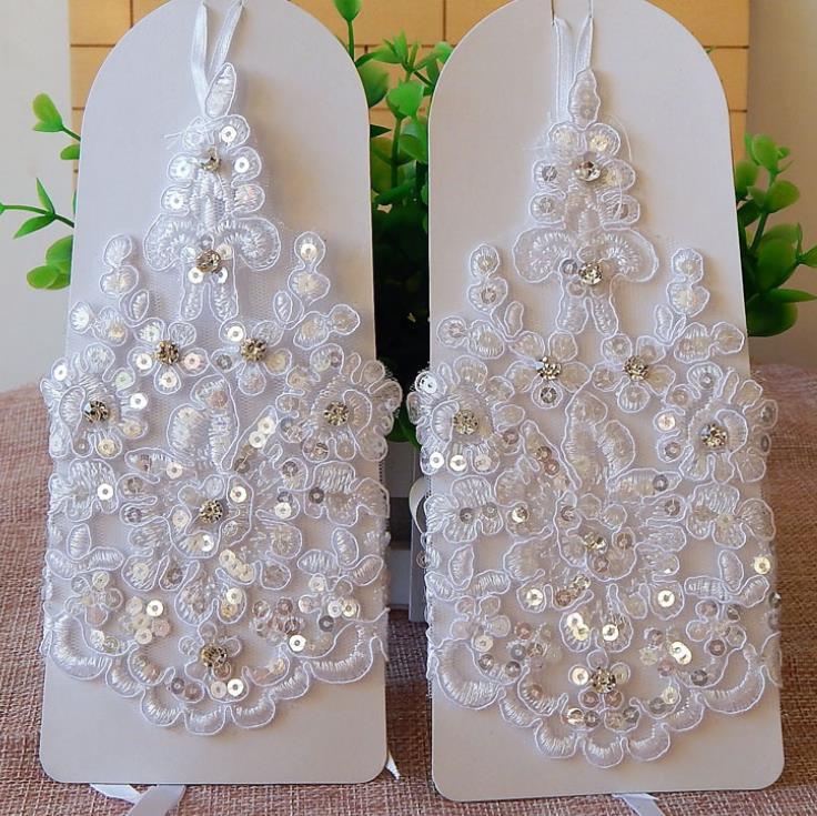 Bridal Gloves Elegant Short White Lace Rhinestone Women's Fingerless Gloves Wedding  Accessories - Hot Offer #78CC | Cicig