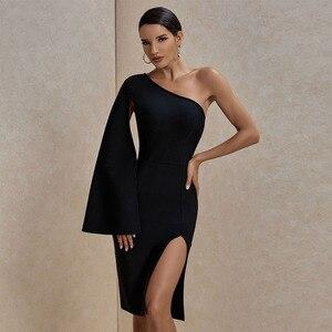 Image 2 - Ocstrade Summer Sexy Thigh Slit One Shoulder Bandage Dress 2020 New Arrival Women Black Bandage Dress Bodycon Club Party Dress