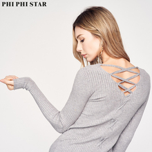 Phi Phi Star Brand Full Sleeve Self-cultivation Bottoming Basic Sweaters Solid Cross Backless Sweater delta phi epsilon square note pad
