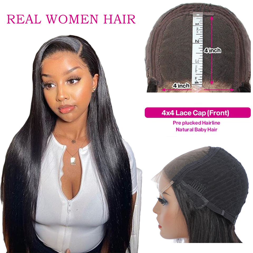 13x4 Lace Front  Wigs  Straight  Wigs 360 Lace Frontal Wig Pre Plucked 4x4 Lace Closure Wigs 2