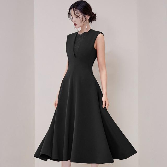 Celebrity Inspired Dresses For Women Elegant High Quality Lace Designer Black Evening Party Vintage A line Formal Dresses Female
