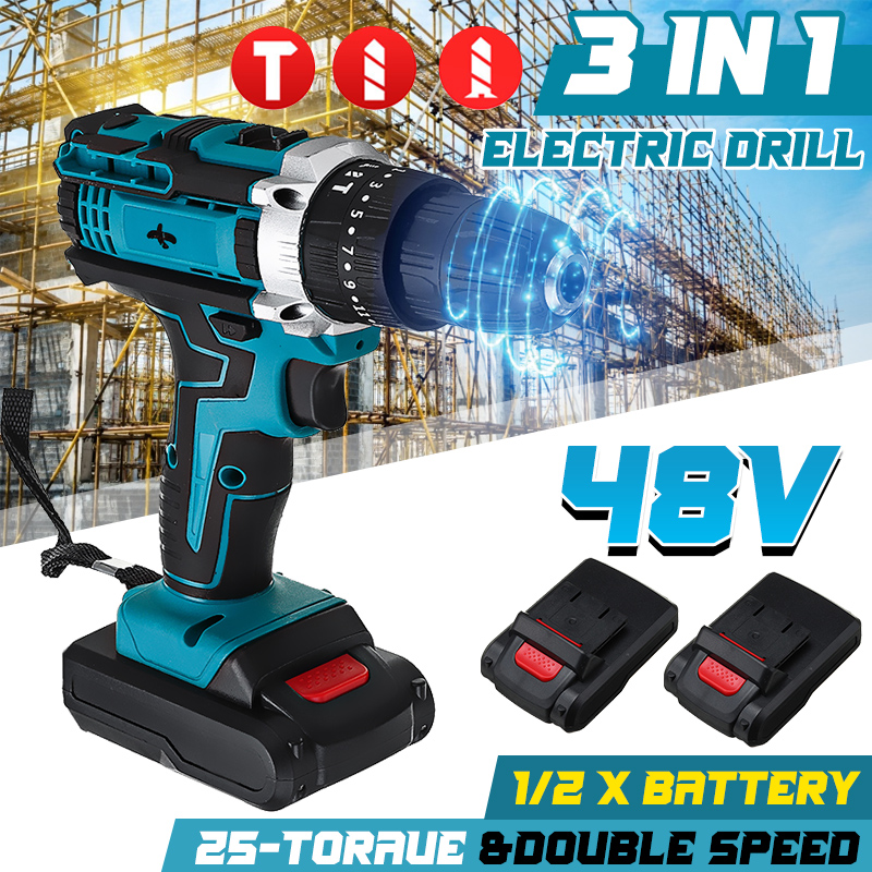 48V Cordless Drill Electric Screwdriver Drill 25 3 Torque With 2Pcs Lithium-Ion Battery Electric Hammer Impact Drill Power Tool
