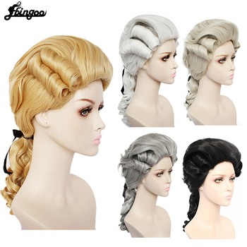 Ebingoo White Grey Black Lawyer Wig Baroque Curly Female Lawyer Judge Costume Wigs Deluxe Historical Long Synthetic Cosplay Wig ebingoo rabbit ears silver grey long double braid judy bunny synthetic cosplay wig for party rabbit ear props