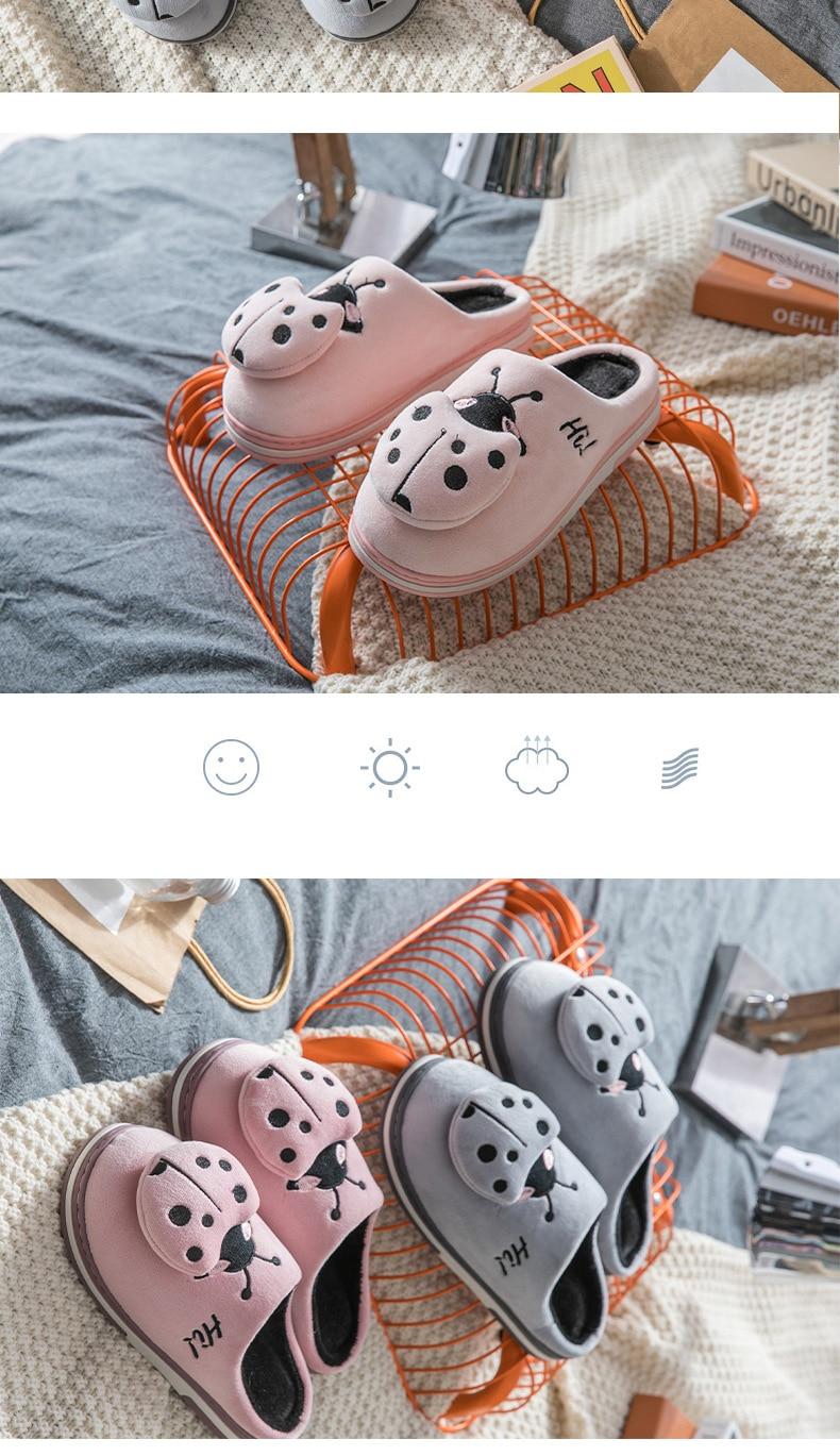 Hf64b3fcc64c6487491a49aa386abcc29E Inverno feminino chinelos de casa dos desenhos animados joaninha antiderrapante quente no interior do quarto sapatos de chão chinelos de pelúcia feminino pele do falso slides tux77