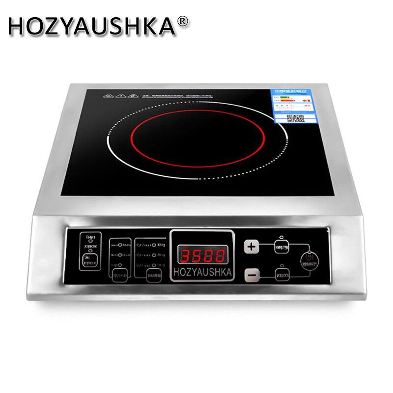 3500 Вт домашняя высокомощная индукционная плита Коммерческая плоская настольная кнопка из нержавеющей стали для перемешивания супа-фри