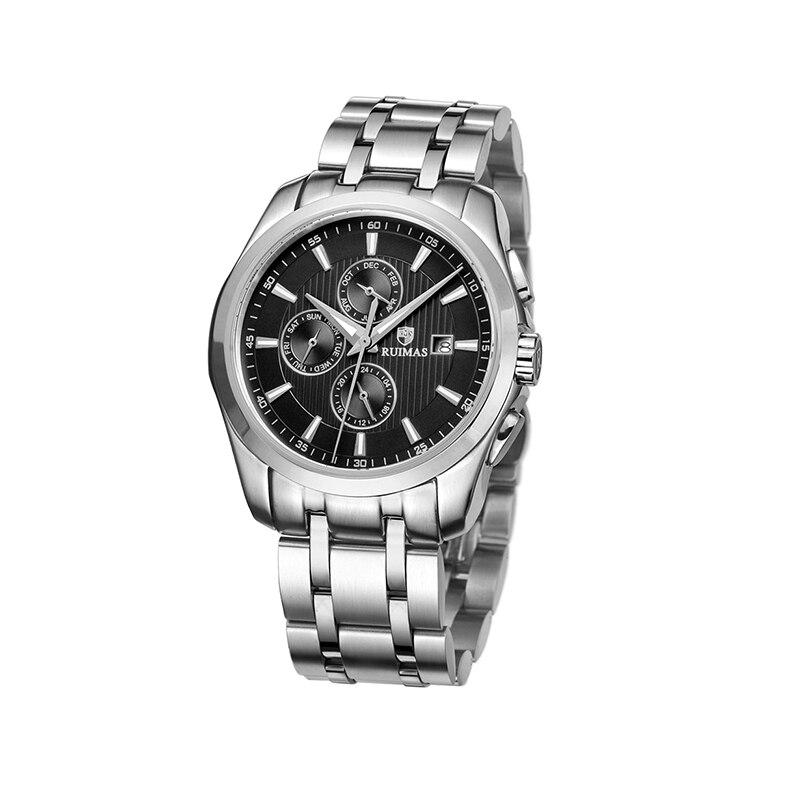 Relógio de Aço Completo para os Homens Inoxidável Três Olhos Marca Superior Esporte Relógio Pulso Militar Qualidade um Vestido Luxo Erkek Kol Saati Presente