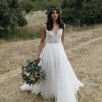 ЛЮБОВЬ Простое кружевное свадебное платье 2019 V образным вырезом открытая спина боковой Разделение Свадебные платья Boho