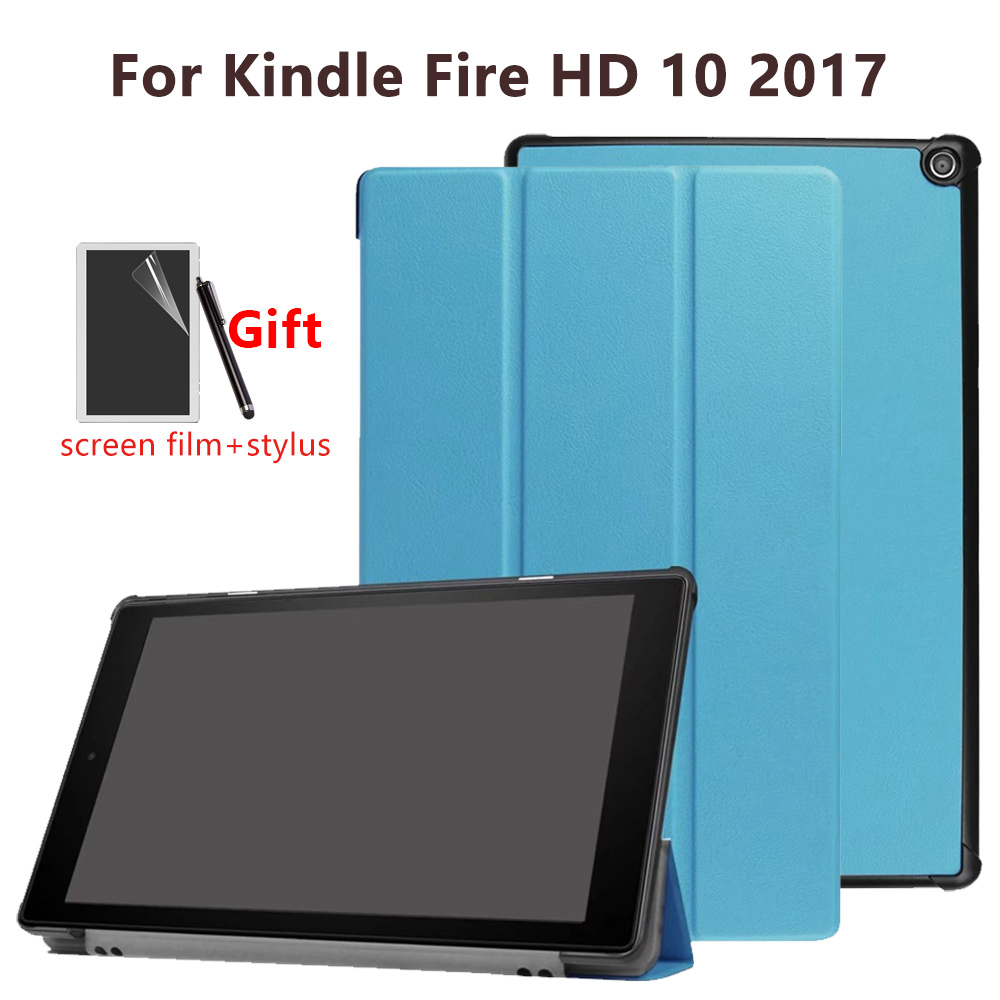 Ultra fino suporte magnético caso de couro do plutônio para amazon fire hd 10 2017 10 polegada tablet capa + presente