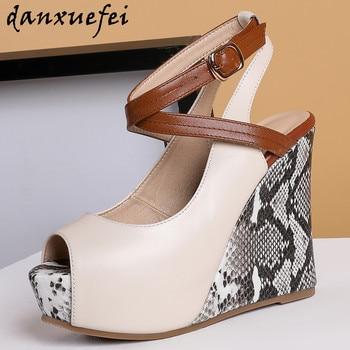 Women's genuine leather ultra high heel wedge platform ankle strap pumps open toe sexy ladies night club dress shoes slim sandal