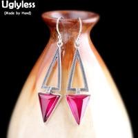 Uglyless Geometric Chalcedony Gemstones Earrings Women Simple Vintage Marcasite Hollow Dangle Earrings 925 Silver Brincos E1553