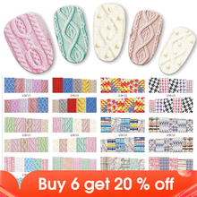 12pcs/set Beauty Sweater Cloth Pattern Sticker Water Transfer Nail Art Stickers Nails Decals Colorful Labels JIBN517 528