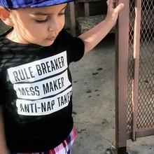Funny Boys Tshirt Rule Breaker Mess Maker Anti-nap Taker Letters Print Kids T-shirt Toddler Girl Boy Short Sleeve Fashion Tees