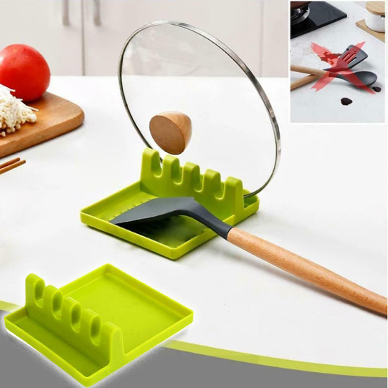 Kitchen Utensil Holder Silicone Spoon Spatula Rack Shelf Portable Multipurpose Stand TN88