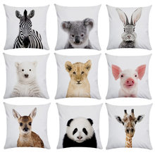 Lovely Animal Panda Giraffe Pillowcase Short Plush Cushion Pillow Case Home Decor Picture Cushion Cover For Home Sofa Decor 45cm