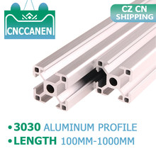 Extrusion de profil en aluminium 3030, 2 pièces, 100mm-1000mm de longueur, Standard européen anodisé pour pièces d'imprimante 3D, bricolage, livraison CZ CN