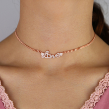 Роскошное женское ожерелье с цепочкой для невесты, письмо, любовь, сердце, циркониевая цепочка, чокер