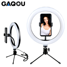 Photography LED Selfie Ring Light 16/26cm Stepless Lighting Dimmable Camera Phone Lamp Tripod Head For Makeup Video Live Studio